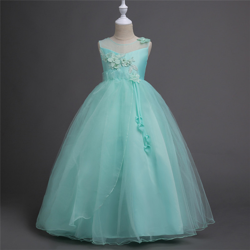 цены Kids Girls Flower Dress Formal Birthday Party Christening Dresses Children Fancy Princess Ball Gown Wedding Clothes 12 Years