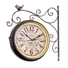 Double Sided font b Wall b font font b Clock b font Vintage Saat Wrought Iron