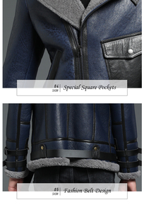 Image 5 - New Genuine Sheep Shearling Jacket Young Man real Sheep Skin Coat Male Winter Jacket Blue Men Fur Gentlemen Casual Overcoat