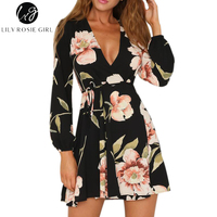 Lily Rosie Girl Black Floral Boho Deep V Neck Women Dress Empire Summer Beach Long Sleeve