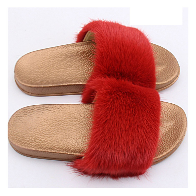 2018 new arrival ladies genuine real mink fur slipper women summer home sandles Winter Indoor Slipper femme Furry House Slippers