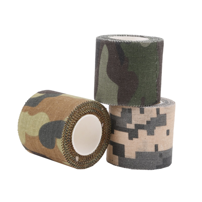5M Self adhesive Army Non Woven Cohesive Bandage Non woven Camouflage Cohesive Camping Hunting Stealth Tape-in Outdoor Tools from Sports & Entertainment