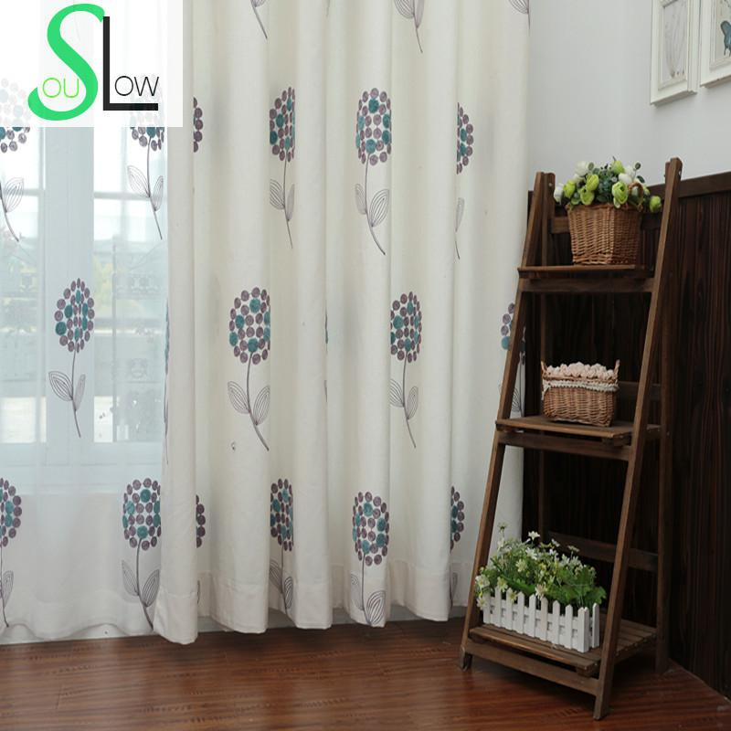 Slow Soul Red Blue Green Beige Cotton Curtain Embroidered Pastoral Floral  Curtains Tulle For Living Room Kitchen Bedroom Fabrics. Blue Red Curtains Promotion Shop for Promotional Blue Red Curtains