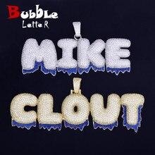 Custom Naam Blauw Druppelen Kleur Bubble Letters Hangers Kettingen Mannen Zirkoon Hip Hop Sieraden Met Tennis Ketting Voor Gift