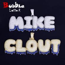 Nome personalizado azul pingentes da bolha das letras da cor do gotejamento colares zircão jóias do hip hop dos homens com corrente do tênis para o presente