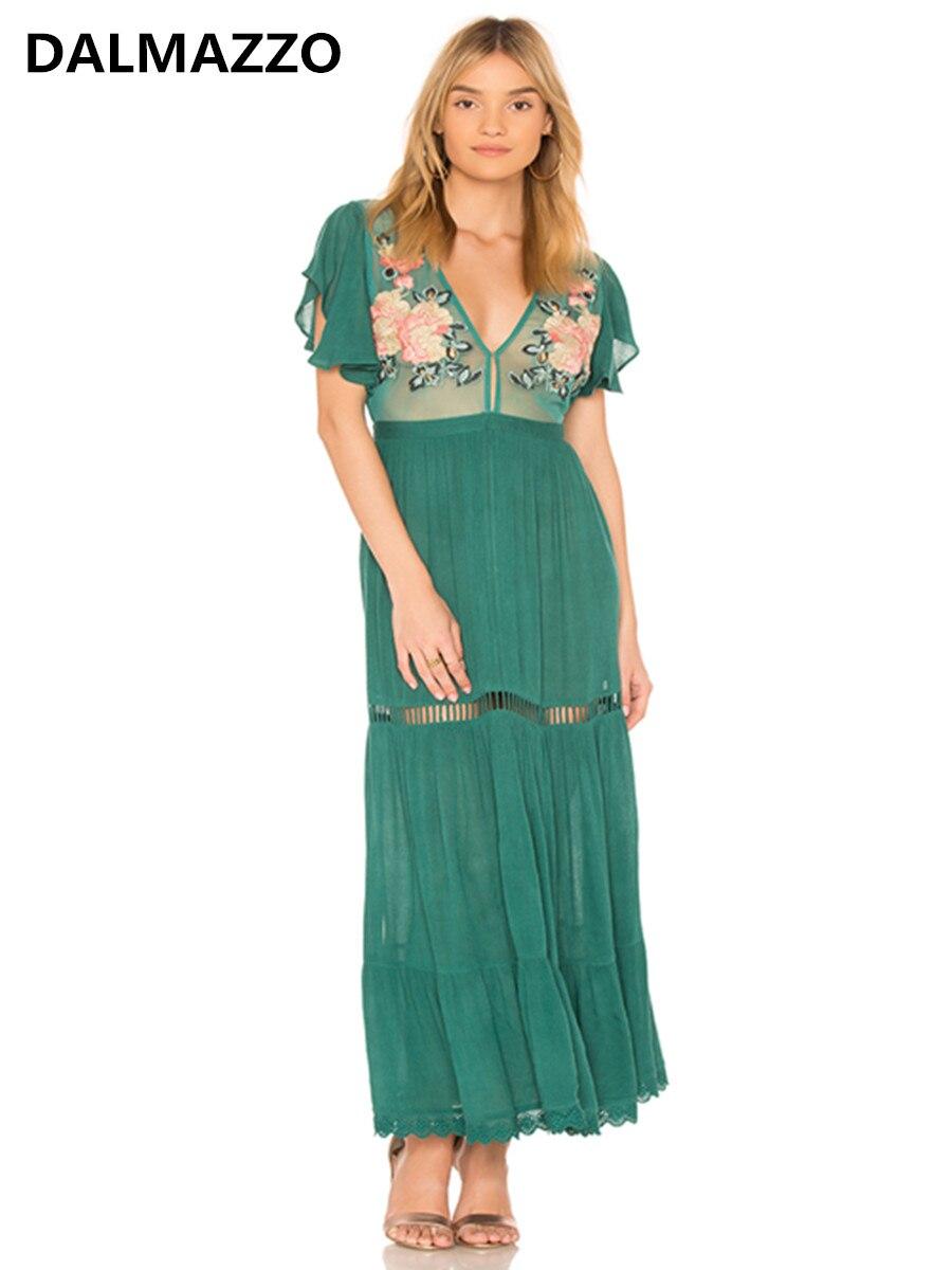 2019 date femmes col en V de haute qualité Vintage fleur brodé Perspective tenue décontractée Hippie Boho personnes Maxi longue robe XL