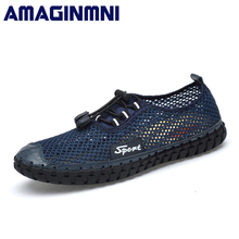 Fashion Summer Shoes Men Casual Air Mesh Shoes Large Sizes 38-46 Lightweight Breathable Handmade Super Soft Casual Shoes Men