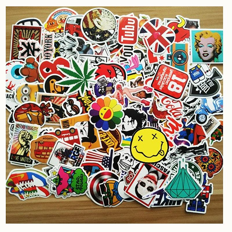 100pcs Mixed Stickers Funny Kids Toys Stickers for DIY Luggage Laptop Skateboard Motorcycle Phone Anime Waterproof Car Sticker