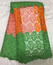 Item No.SJKG06, bright color design high quality cord lace fabric for African style wedding dress free shipping