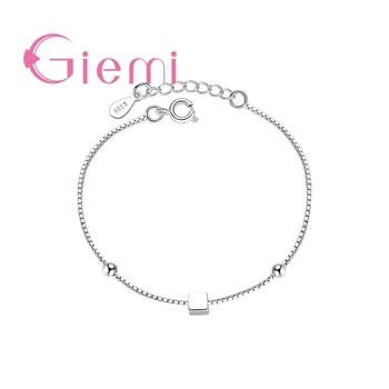 Concise Created Box Chain Bracelet for Women Simple Square and Star Shape 925 Sterling Silver Statement Jewelry for Women Girl 1