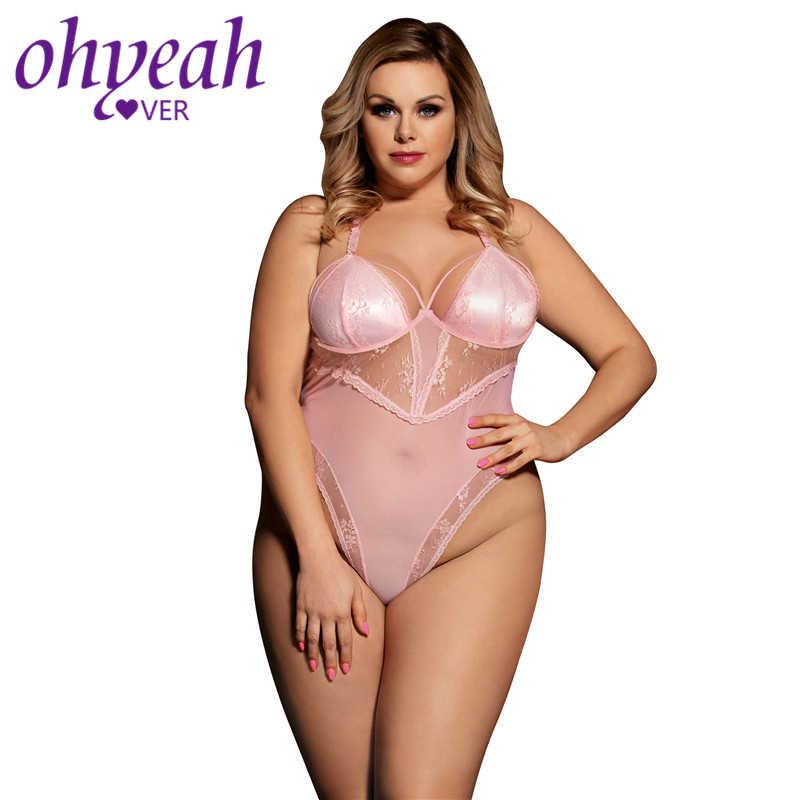 320b1e823 Ohyeahlover Women Off Shoulder Rompers Halter Lace Overalls for Women  Elegant RM80466 Plus Size Pink See