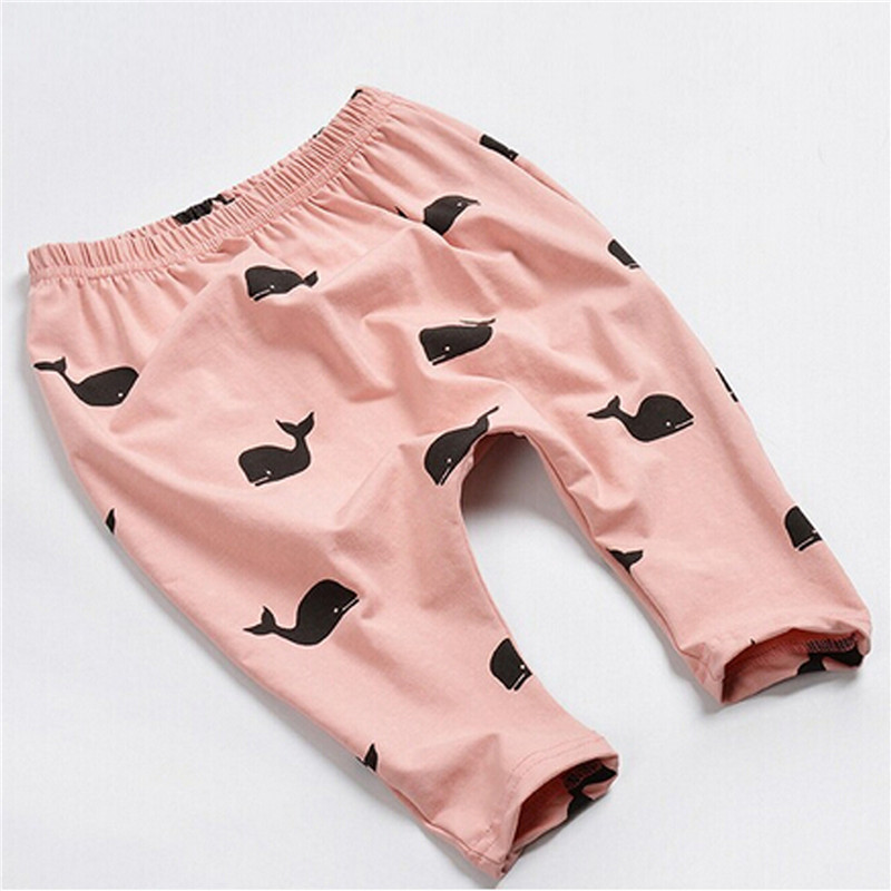 Baby Kids Cute Whale Patterns Printed Full Length Pants Children Spring Autumn Cotton Casual Trousers 4 Color