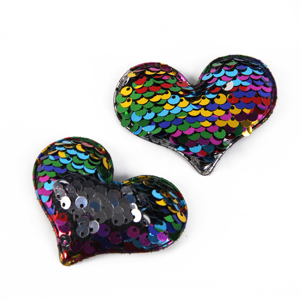 David accessories 65x55mm sequins reversible love heart diy clothing patch decoration crafts Sewing Supplies 5pieces,5Yc3149