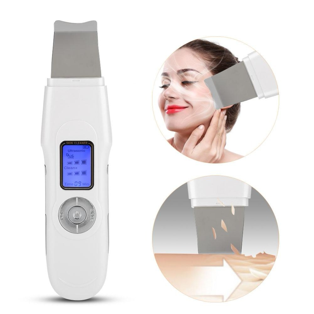 Ion Ultrasonic Skin Scrubber Massager Facial Cleaner Skin Peeling EMS Face Pores Cleaner Therapy Deep Cleansing