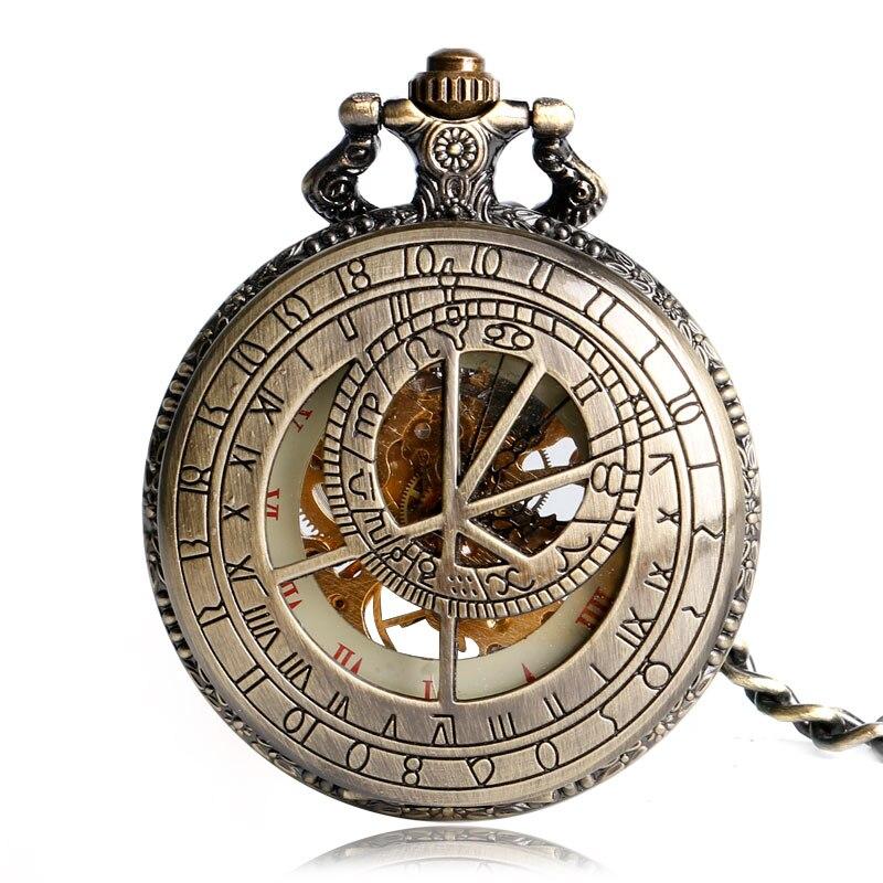 2016 New Arrival Antique Bronze Hollow Zodiac Constellation Mechanical Hand Wind Pocket Watch Special Gift робот zodiac ov3400