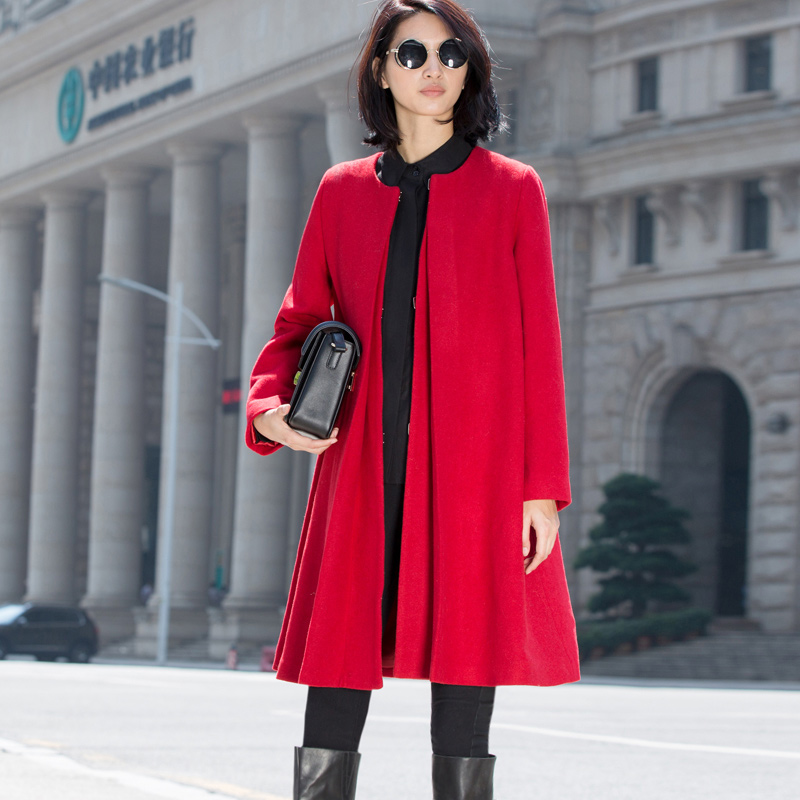 Amii Casual Minimalist Women Woolen Coat 2018 Winter O Neck Solid Wide-waisted Female Wool Blends