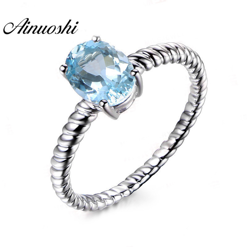 AINUOSHI 1.5 Carat Oval Cut Topaz Ring Luxurious 925 Sterling Silver Natural Blue Topaz Rope Ring Jewelry for Woman ледянка 1toy cut the rope cut the rope