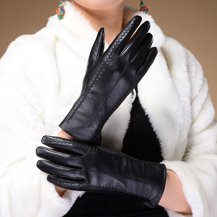 Autumn And Winter Plus Velvet Thick Genuine Leather Gloves Female Motorcycle Gloves Black