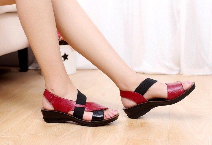 Summer Fashion Sandals Women Genuine Leather Comfortable Slipper Flops Shoes Open Toe Women Cowhide Wedges Womens Sandals