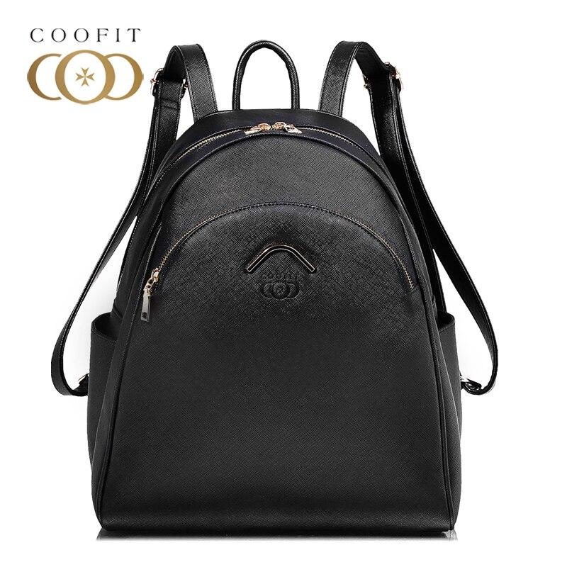 Coofit marque Designer élégant sac à dos pour femme Chic solide PU sac à dos en cuir pour filles adolescent décontracté femme sacs à dos sac à dos