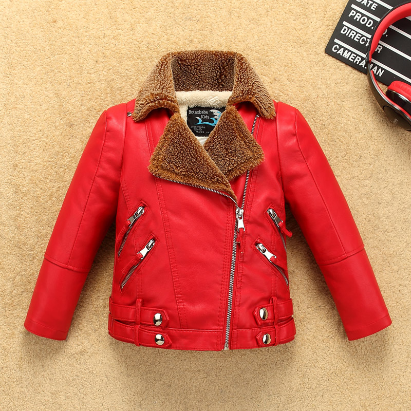 Zipper Thick Boys Girls Leather Jacket with Fur Collar for Autumn Winter Kids Warm Motor Coat Bomber Water-proof Leather striped trim zipper up bomber jacket