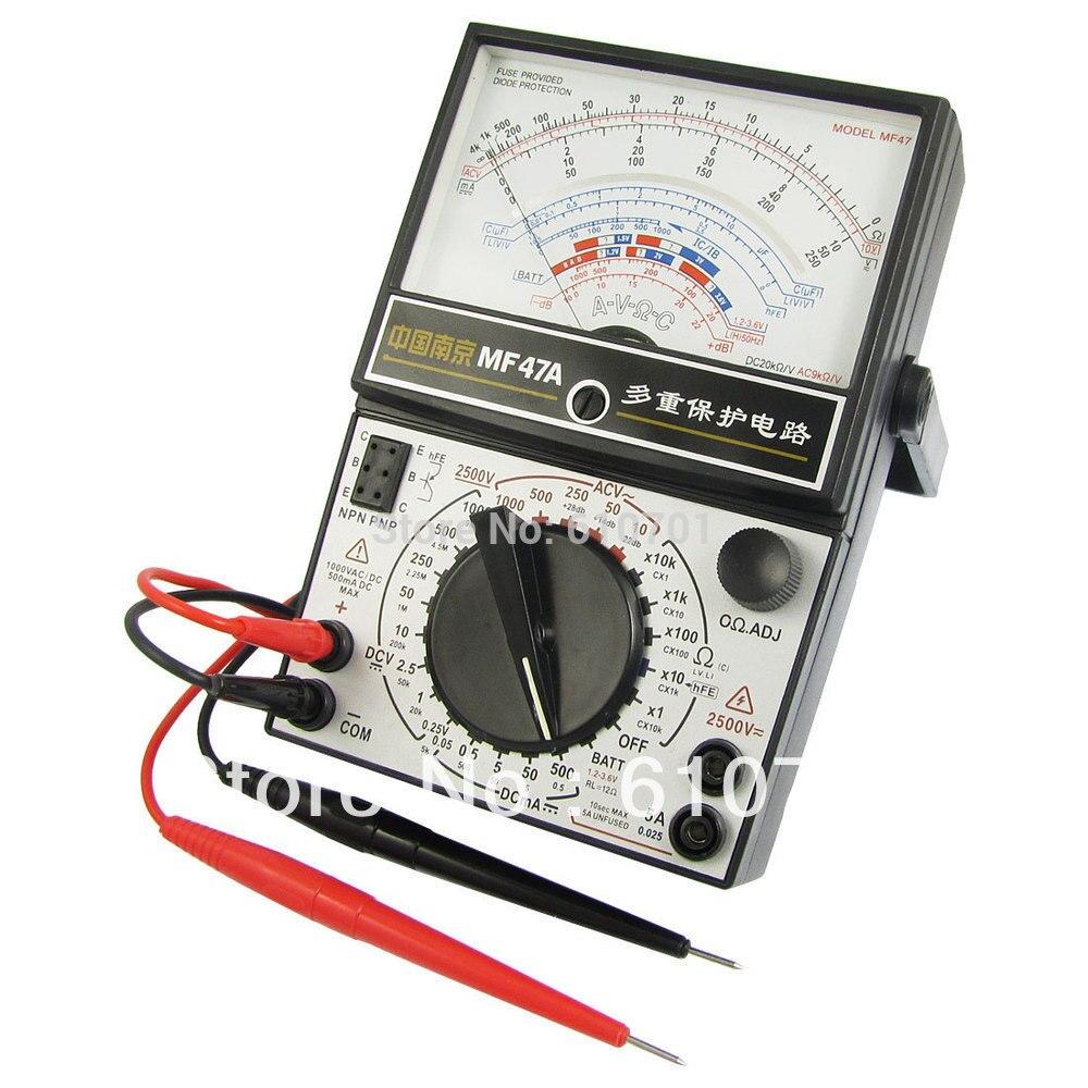 Volt Ohm Amp AC DC Meter Gauge Analog Multimeter Battery Tester Black MF47A Free Shipping