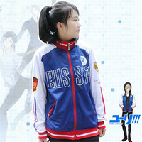 Anime Yuri Yuri On The ICE Yuri Sweater Coat COS Sweater Zipper Fake Two Hooded