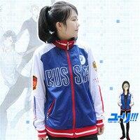 Anime Yuri Yuri On The ICE Yuri Sweater Coat COS Sweater Zipper Fake Two Hooded