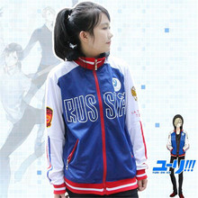 Anime Yuri on the ICE sweater coat COS zipper fake two hooded