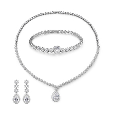 Necklace, Earrings And Bracelet Bridal Jewelry Set With Cubic Zirconia