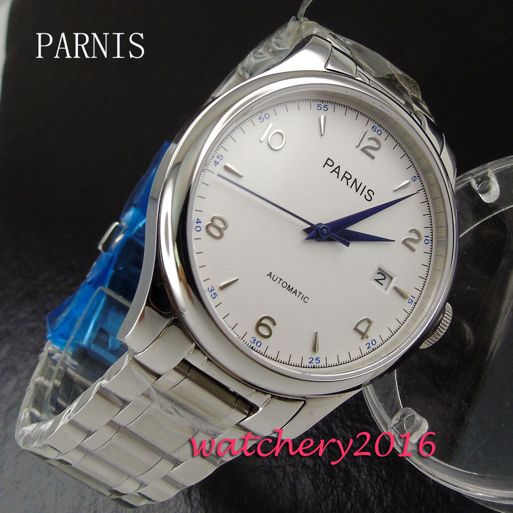 все цены на 38mm Parnis white dial date adjust deployment clasp sapphire glass Automatic movement Men's watch онлайн