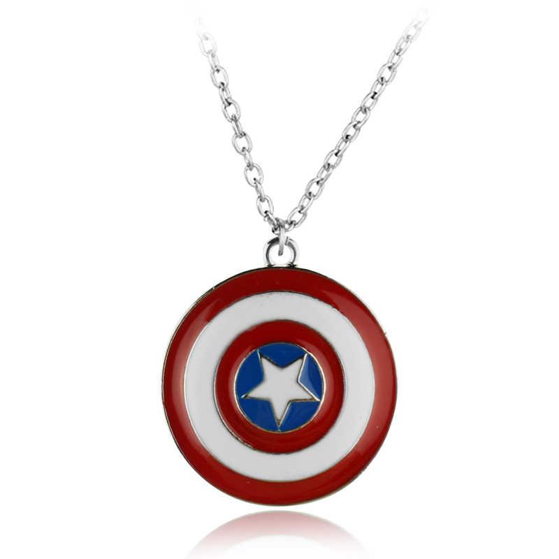 Hot Movie Film Jewelry American superhero Captain America Shield Pendant  Necklace logo jewelry Star Pendant statement