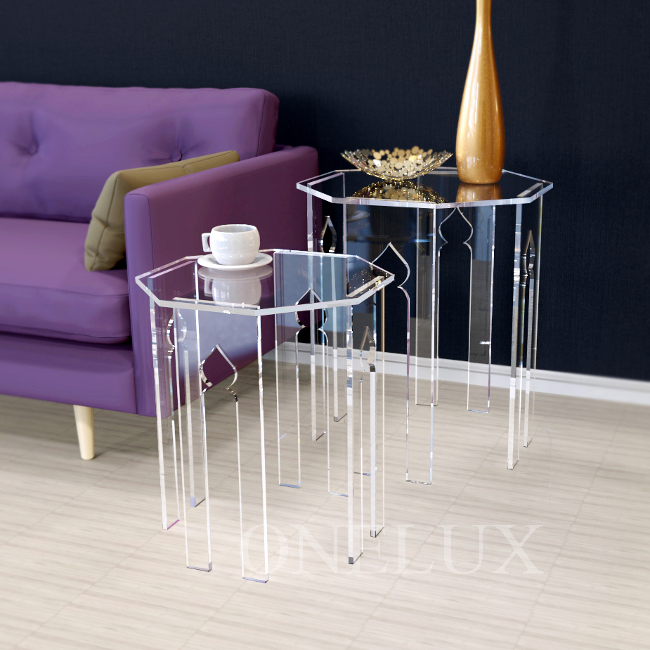 (2 Pieces/lot)  Lucite Occasional Side Riser Table,Plexiglass Small coffee tea tables, Engraved Acrylic Nesting Sofa Tables hot sale c shaped waterfall acrylic occasional side table