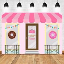 NeoBack Donut Shoppe Backdrop Cake Table Birthday Photography Background Bonut up Baby Shower Party Banner Backdrops