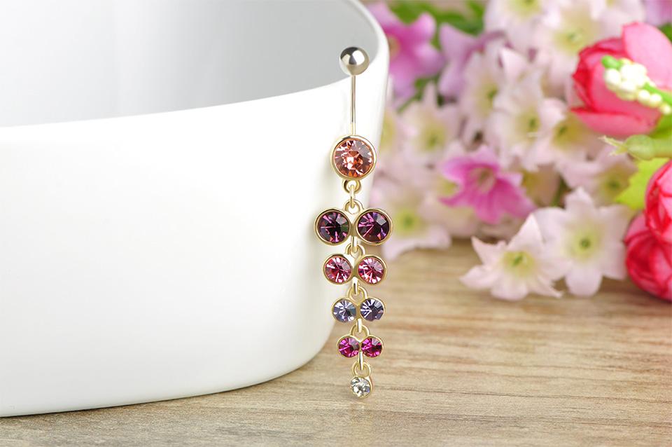 HTB1hhlbSXXXXXatXXXXq6xXFXXX2 Exquisite Orchid Crystal Bouquet Long Pendant Navel Ring For Women - 3 Colors