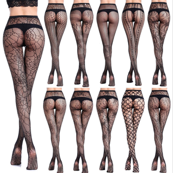 transparent Jacquard weave Small mesh Pantyhose Fishnet stockings erotic Sexy lingerie pantyhose tights medias de mujer collant