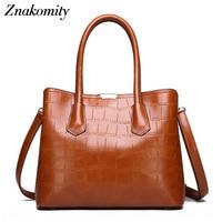 Znakomity Women's handbag crocodile skin bags ladies PU leather shoulder bag alligator purse Large messenger tote bag for women