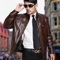 Hombre chaqueta de cuero otoño primavera hombre chaquetas de cuero del diseño del cortocircuito del Collar del soporte ocasional de invierno abrigo de cuero chaqueta de cuero hombre