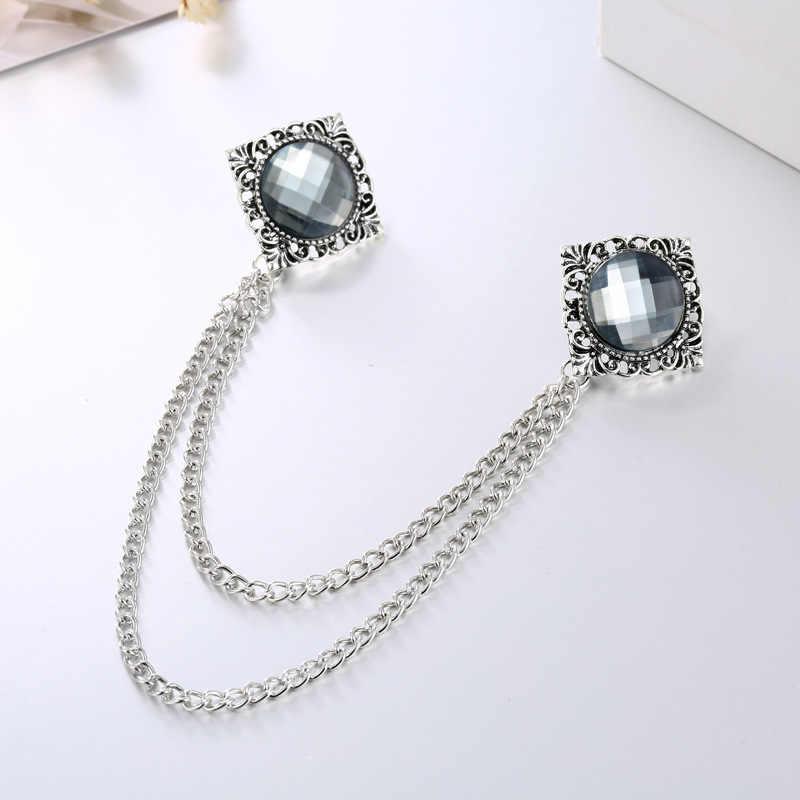 Fashion Baru Permata Rumbai Kerah Pin Bros Crystal Perhiasan Mewah Personalized Rantai Kerah Pin dan Bros untuk Wanita Aksesoris