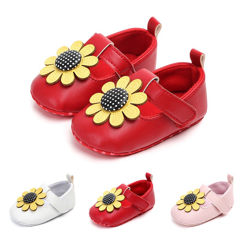PU Flowers Baby Girls Shoes Autumn Fashion Newborn First Walkers Soft Cute Sunflower Baby Girls Shoes 0-18M Baby Shoes