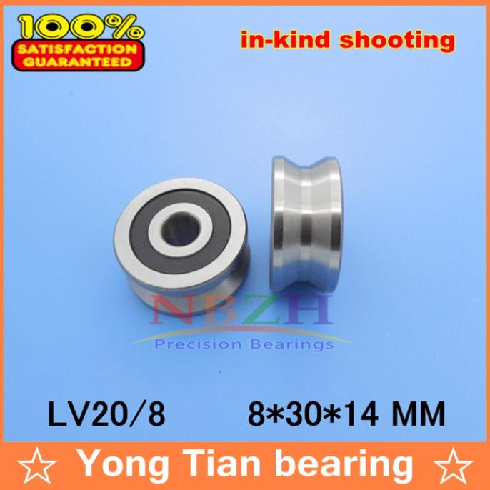10pcs High quality ABEC-5 Z2V2  v groove Guide roller bearings LV20/8 ZZ V-30 RV20/8-10 8*30*14 (Precision double row balls) 50mm bearings nn3010k p5 3182110 50mmx80mmx23mm abec 5 double row cylindrical roller bearings high precision