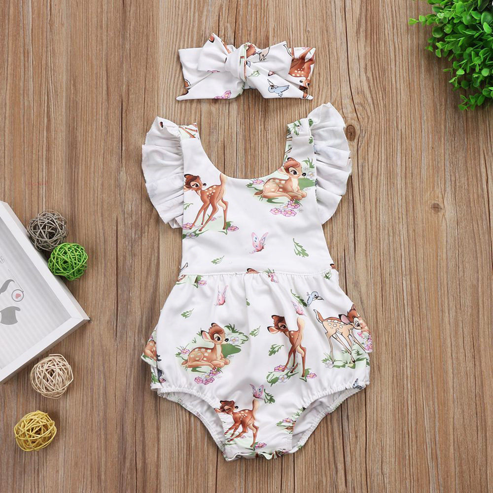 Newborn Toddler Infant Baby Girls Flying Sleeve Deer  Bodysuit And Handband Jumpsuit Clothes Outfits