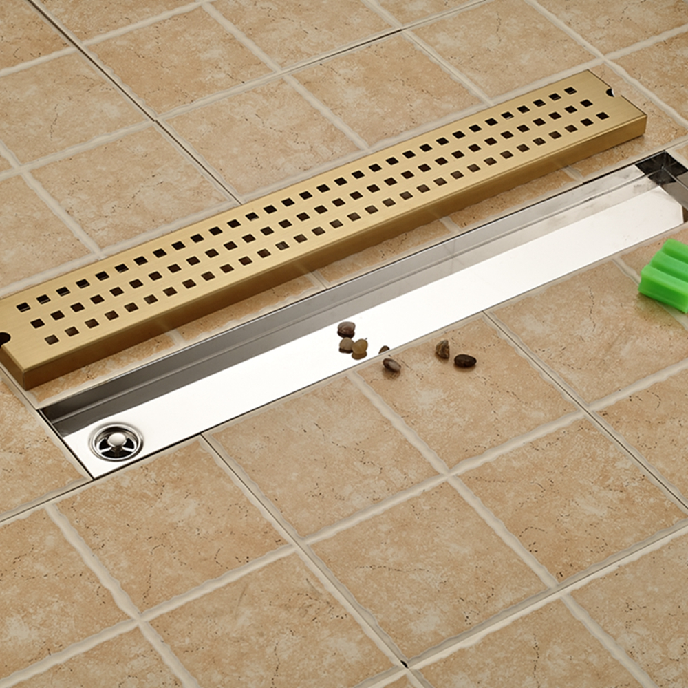 все цены на Grid Style Golden Steel Floor Drain Square Bathroom Shower Grate Waste Drainer онлайн