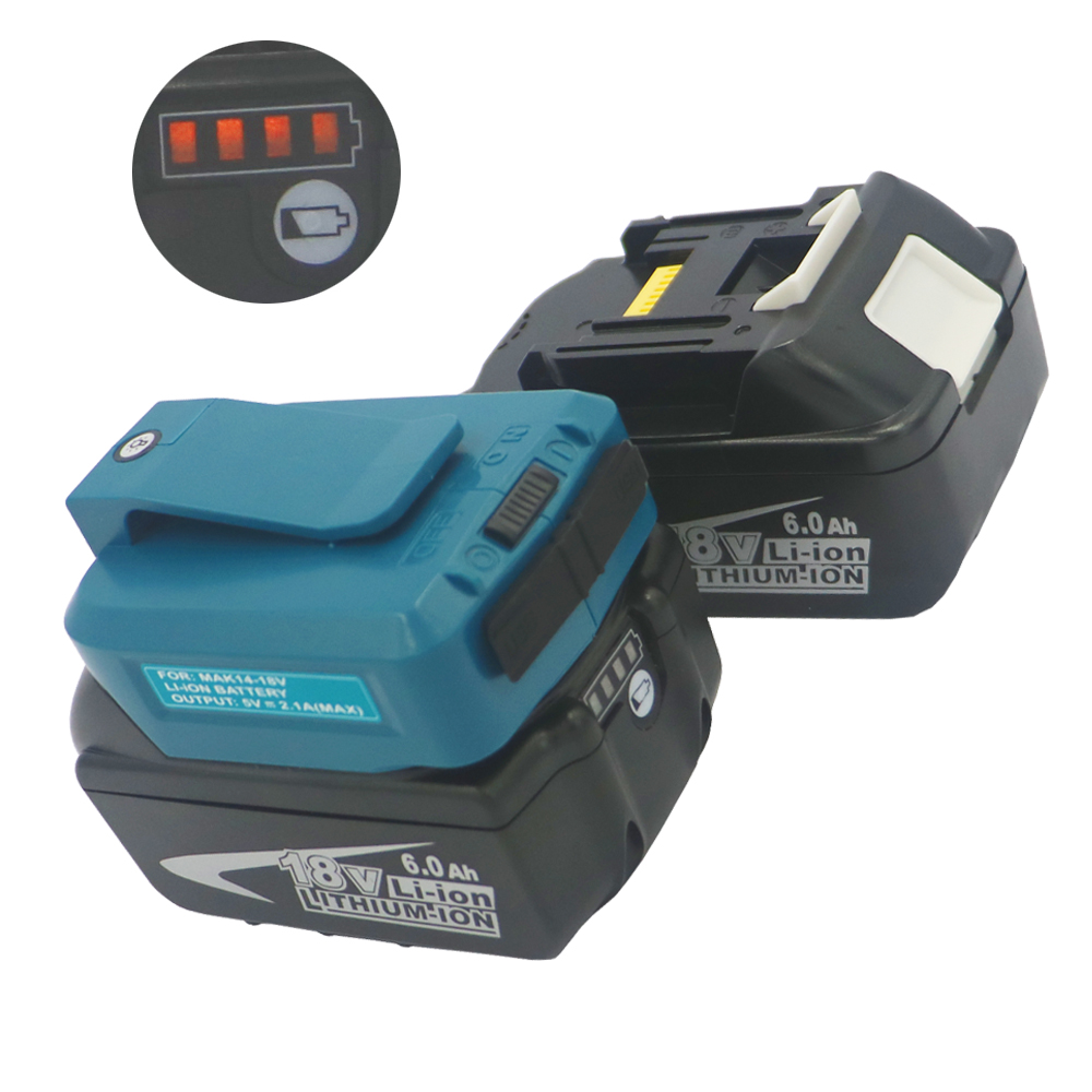 2PCS 18V 6AH 6000mAh lithium li-ion Battery+USB Charging Adapter Converter for MAKITA BL1860  Power Tool Battery BL1850 BL1840 2PCS 18V 6AH 6000mAh lithium li-ion Battery+USB Charging Adapter Converter for MAKITA BL1860  Power Tool Battery BL1850 BL1840