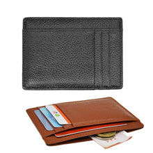 Card-Holder Gift-Card-Case Money Custom Genuine-Leather Wide Pocket Plus Grain Litchy