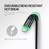 cable samsung galaxy ROCK 3A LED USB Type C Cable for xiaomi Samsung USB-C Mobile Phone Fast Charging Type-C Cable for Oneplus Galaxy S9 S8 Note 9 8 (2)
