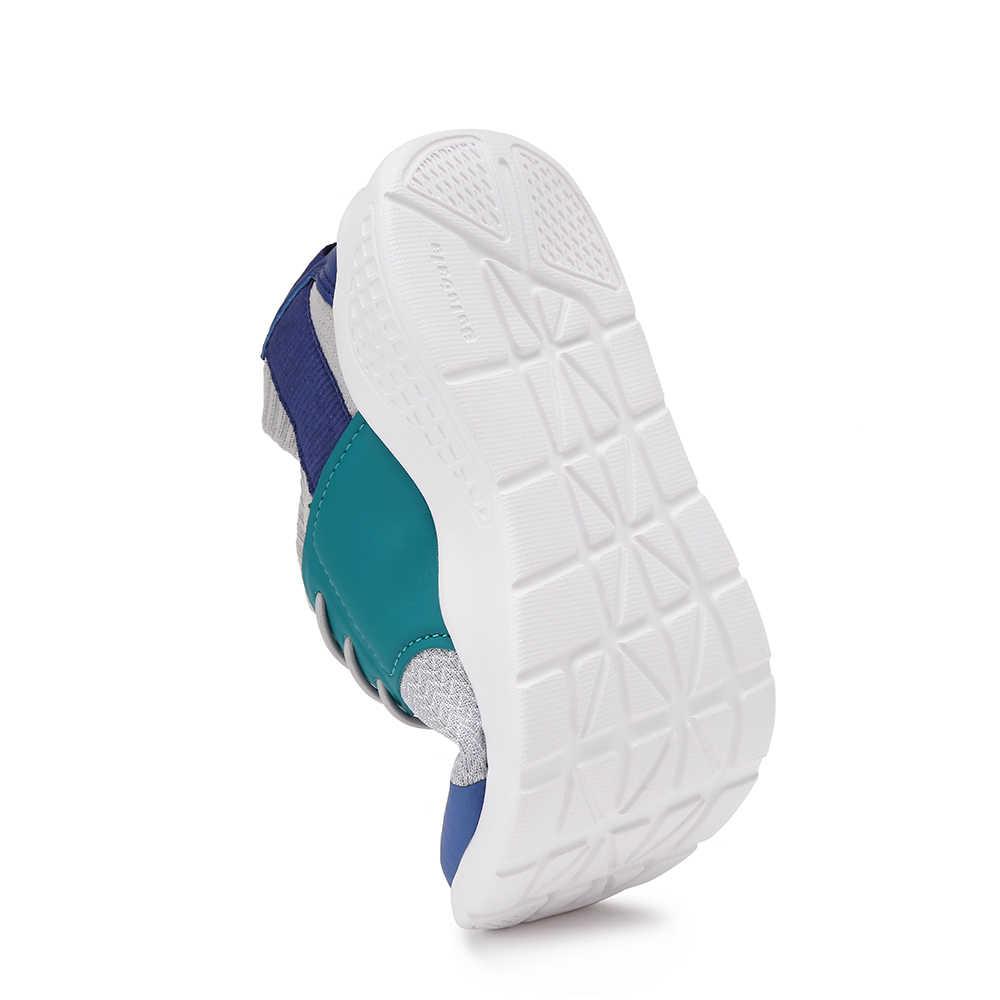 Balabala Kinderen Kids Jongens LED Schoenen Lace-up Sneakers met Rekbare Gebreide Bovenste Peuter Ademende Lichtgewicht Loopschoenen