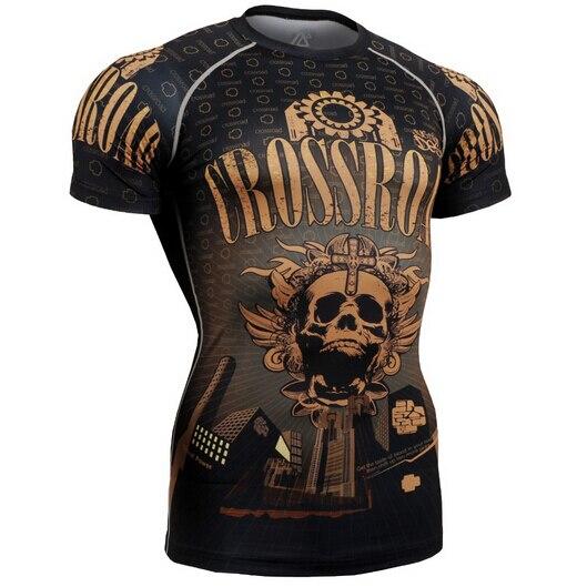 Летние мужские компрессионные футболки для бодибилдинга, облегающие короткие трикотажные футболки, одежда MMA Crossfit для тренажерного зала, с... - 3