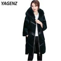 Yagenz зима Для женщин куртка Искусственный мех пальто свободные искусственного Роскошные лиса Мех животных воротник пальто с капюшоном одно