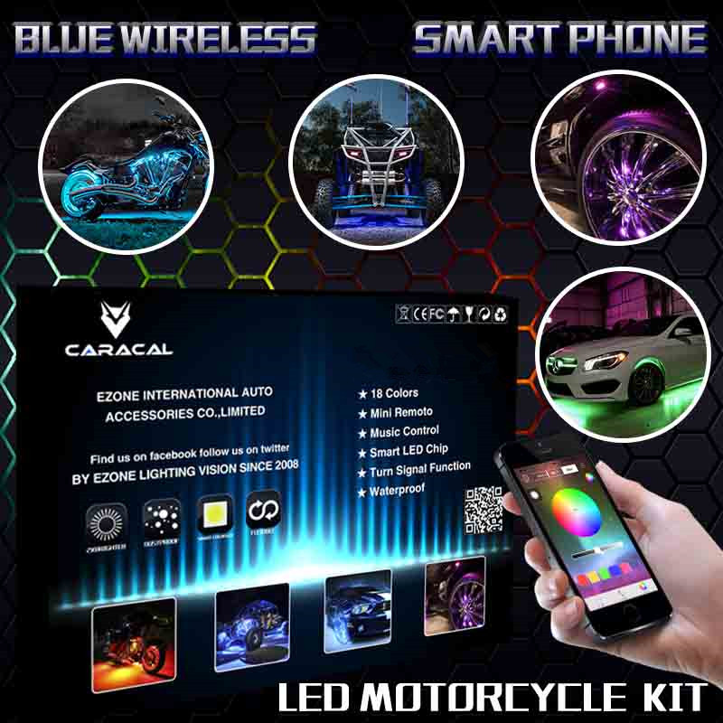 Bluetooth Motorcycle LED Neon Accent Glow Kit, 8 Strips,2 Pod,2 wheel well pod